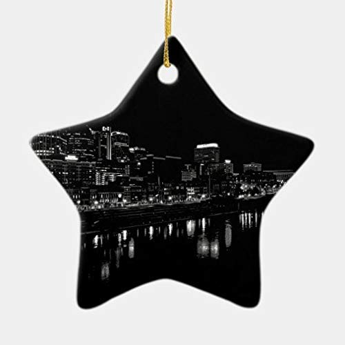 Christmas Tree Hanging Ornaments, Nashville at Night Ceramic Ornament for Holiday Wedding Party Decoration Tree Ornaments,Xmas Gifts, Star Shape