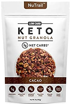 NuTrail™ - Keto Cacao Nut Granola Healthy Breakfast Cereal - Low Carb Snacks & Food - 3g Net Carbs - Almonds Pecans Coconut and more  11 oz   1 Count