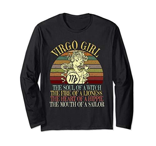Virgo Girl Zodiac T design August & September Birthday Women Langarmshirt