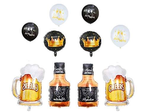 10Pcs Whiskey Bottle Beer Mug Super Shape Mylar Foil Balloon Aluminium Balloon Birthday Party Decoration Supplies for Bar Valentines Wedding Decors