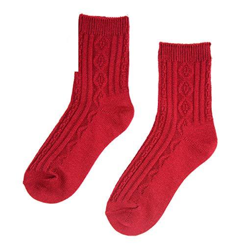 TIGERROSA Calcetines De Mujer Hilo De Algodón Aguja Gruesa Retro Damas Estilo Étnico Código Uniforme Calcetines 2 Pares De Rojo