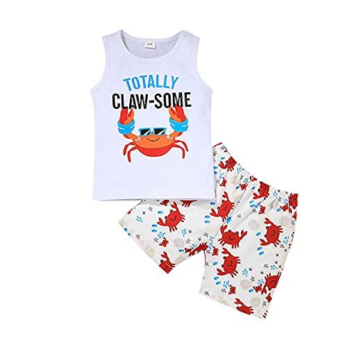 Chaleco de impresión de letra de verano y estampado de flores y teñido traje de niño