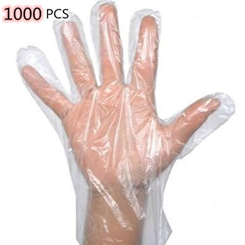 Guantes desechables transparentes, guantes seguros de preparación de alimentos de plástico sin látex, para cocinar, manipular alimentos, cocina, barbacoa, limpieza: talla única: 1000 piezas