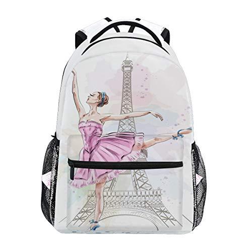 Ballerina Eiffel Tower School Backpack Daypacks, Ballet Dancer Bookbag Schoolbag Shoulder Bag Laptop Bag for Teens Kids Boys Girls