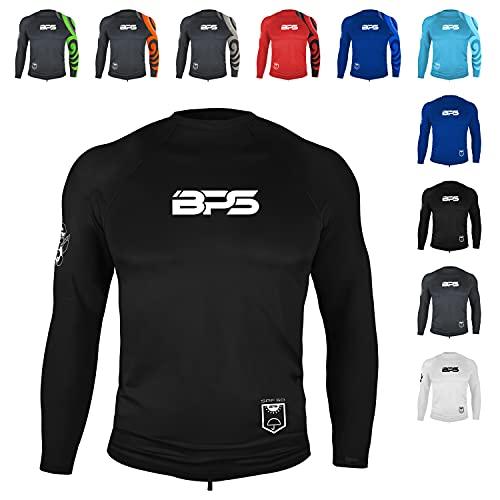 BPS Men's UPF 50+ Long Sleeve Swim Shirt/Rash Guard with Sun Protection (Black, S)