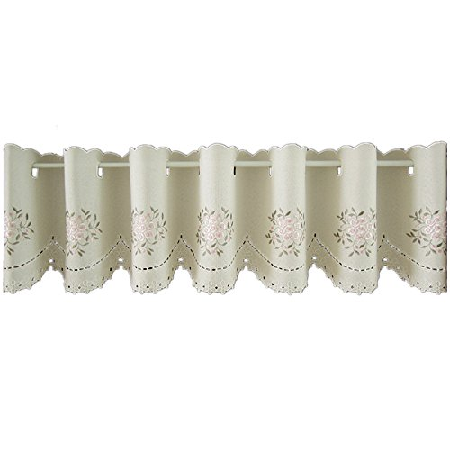 ABREEZE Rod Pocket Cafe Curtains Embroidery Kitchen Curtains Tiers for Nursery, Bathroom, Bedroom- 59 Inch by 35 Inch