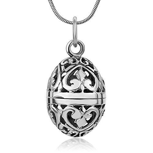 "SUVANI 925 Sterling Silver Filigree Aromatherapy Egg Locket Pendant Prayer Holder Pill Box Necklace 18"""