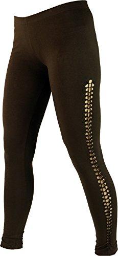 Guru-Shop Psytrance Damen Leggings, Stretch Hose für Frauen, Yogahose, Coffee, Baumwolle, Size:38, Shorts, Leggings Alternative Bekleidung