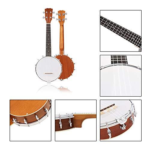 BLKykll De 4 Cuerdas Banjo -Banjo De Instrumentos Musicales para Niños Sapele De Cuatro Cuerdas Marfil Blanco Individual ABS Lado Banjo Pequeño
