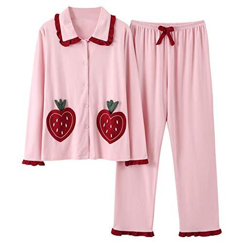 LEYUANA Otoño Invierno Conjuntos de Pijama para Mujer, Pijama con Cuello Vuelto, Ropa de Dormir de algodón para Mujer, Ropa de Pijama para el hogar, Traje de Noche Largo XL B