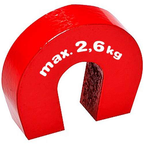 Hufeisenmagnet Schulmagnet 28 x 25 x 8mm AlNiCo rot - hält 2,6 kg - Aluminium-Nickel-Cobalt Magnete gehören zu den stärksten Magneten, die heutzutage hergestellt werden. Sie sind ideal zum Experimentieren