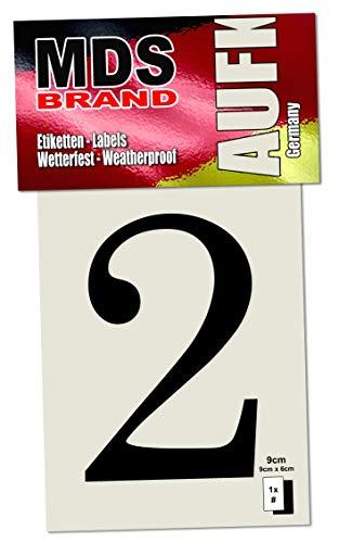 MDS Brand Design Hausnummer 0-9 / a-e Selbstklebende Briefkasten Aufkleber (2, Schwarz)