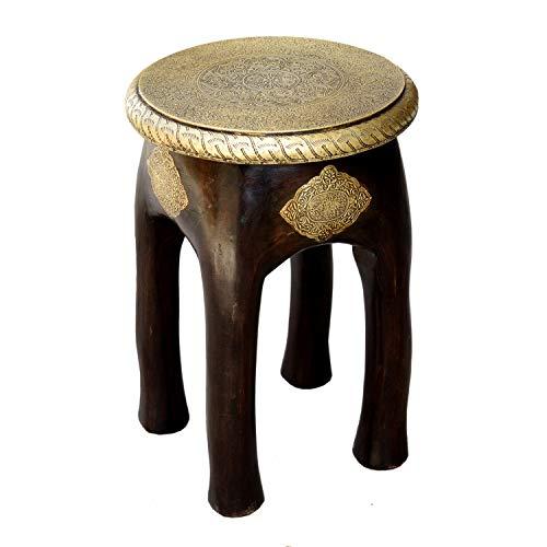 Casa Moro Orientalischer Sitzhocker Kamala H 45 x Ø 34 cm rund aus Massivholz Mango handgeschnitzt mit Messing verziert | Kunsthandwerk Pur | Vintage Holz-Hocker Beistelltisch | MA03-24