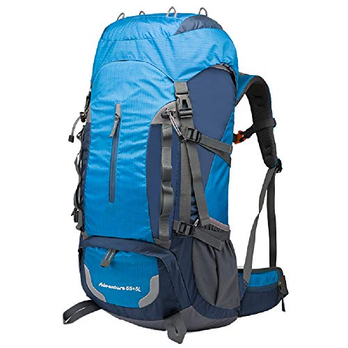 GYBN 60L Sac de Voyage Alpinisme Grande capacité randonnée Camping Voyage Longue Distance extérieur imperméable Sac à Dos Homme et Femme Sac de Sport de Loisirs, Matériau, Couleur, Bleu Ciel