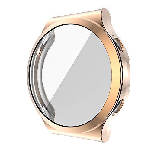 FAAGFC Funda de silicona para Huawei GT 2 Pro Tpu Full Protector de pantalla Hd Accesorios para reloj Cover BumperCase Shell nuevo (color de la correa: oro rosa, ancho de la correa: para GT2 PRO)