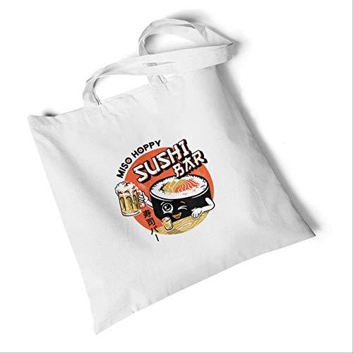 DFJU Leinentasche Frauen Casual Shopping Taschen Print Canvas Tasche Umweltfreundliche Schultertaschen Student Fashion Handtasche Sushi-Bier