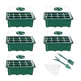 Richaa 5Pcs Bandejas Semilleros Germinacion, Plántulas de Semillas con Etiquetas Herramienta de Plantación y Trasplante Bandejas de Semillas para Plantas en Crecimiento