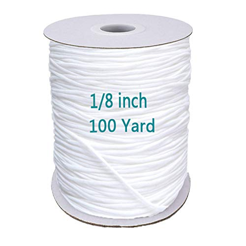 1/8 inch Elastic Bands for Sewing - Elastic String for Masks, Elastic Cord Heavy Stretch High Elasticity Knit Elasticfor for Sewing Crafts DIY Mask, White 100 Yards