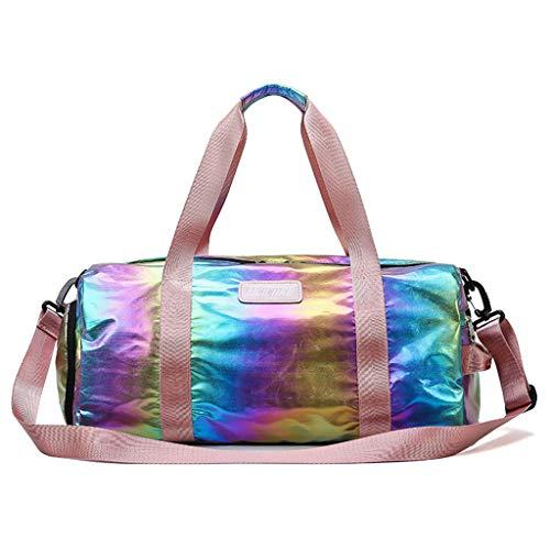 Bolsa holográfica deportiva para gimnasio, compartimento para zapatos para mujer, bolso de mano, equipaje ligero