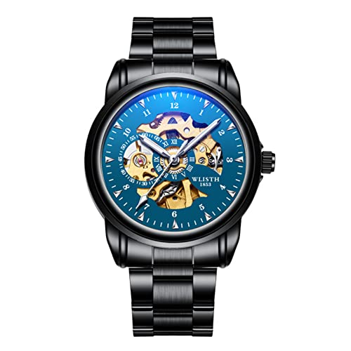 GDHJ Reloj de hombre Mecánico Movimiento hueco Cronógrafo Acero inoxidable Impermeable Luminoso Relojes Moda Negocios Azul Reloj de pulsera Correa de acero