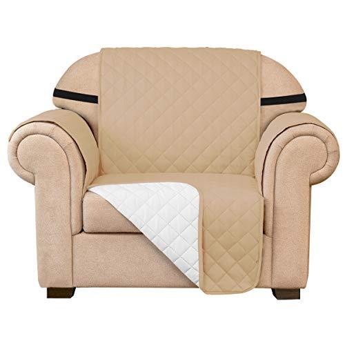 subrtex Gesteppt Sofabezug Reversibel Möbelschutz mit Gummiband Stuhlüberzüge für Wohnzimmer Sessel Schonbezüge Möbelschoner für Sofas (1 Sitzer, Sand)