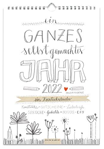 A4 Bastelkalender 2022, FSC Papier Fotokalender, Kreativkalender, Geburtstagskalender im Bleistift DIY Design, Grau Weiß mit Blumen, Kalender selbst gestalten, basteln und verschenken