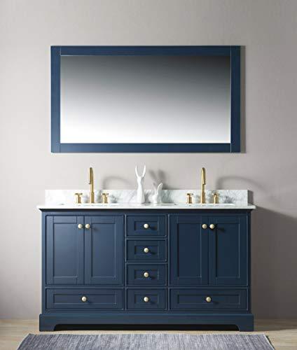 Urban Furnishing - Jocelyn 60-Inch (60') Bathroom Sink Vanity Set with White Italian Carrara Marble Top - Blue