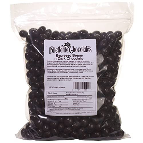 Bulk Dark Chocolate Covered Espresso Beans | Made with All-Natural Ingredients | Premium Quality Dark Chocolate | 5lb Bulk Bag | Energizing Snacks Throughout the Day | By Dilettante Chocolates