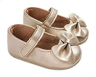 Mix & Max Front Bow Velcro Strap Shoes for Girls - Gold, 12-18 Months