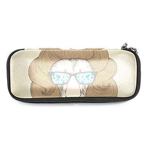 Federmäppchen aus Leder, großes Fassungsvermögen, mit schickem Haarschnitt mit Brille und Löwe, ideal für Schule/Uni