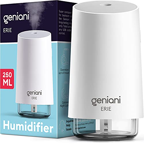 GENIANI Portable Small Cool Mist Humidifiers - USB Desktop Humidifier for Plants, Office, Car, Baby Room with Auto Shut Off & Night Light - Quiet Mini Humidifier (White, 250ML)