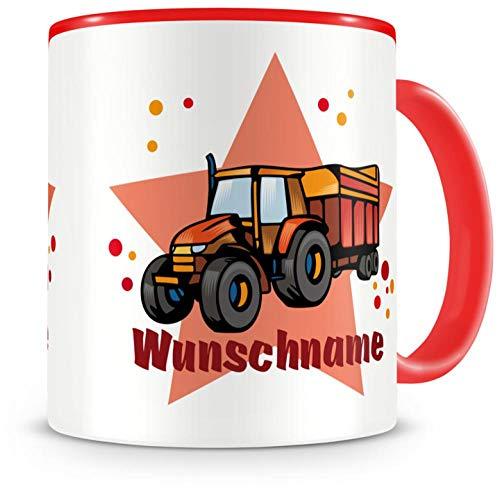 Samunshi® Kinder-Tasse mit Namen und einem Traktor mit Anhänger als Motiv Bild Kaffeetasse Teetasse Becher Kakaotasse Nr.1: rot H:95mm / D:82mm