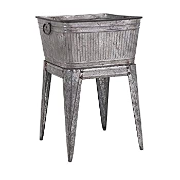 IMAX 65345 Perryman Galvanized Tub on Stand Lightweight Iron Beverage Tub - Use for Keeping Pets Holding Firewood Displaying Vegetables Storing Wines Multi Utility Tubs