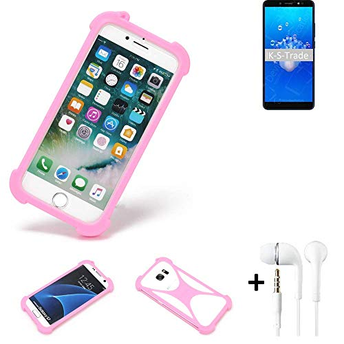 K-S-Trade Bumper + Kopfhörer Kompatibel Mit Haier Hurricane Handyhülle Schutzhülle Silikon Schutz Hülle Cover Case Silikoncase Silikonbumper TPU Softcase Smartphone, Pink (1x)