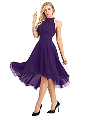 ACSUSS Women's Sleeveless Halter Neck Bridesmaid Dress High Low Evening Prom Flare Dresses Purple 4