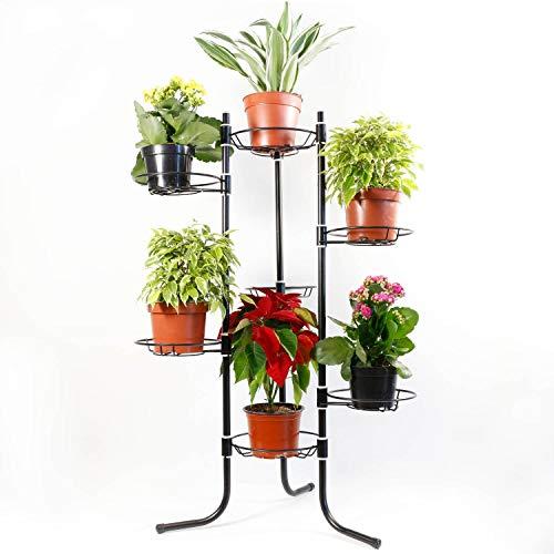 7 Schwarz Blumenständer Foltbar Holz Blumenablage Metall Balkon Blumenbank Für Innen Pflanzentreppe Draussen Plant Stand Indoor Outdoor Dekoständer Pflanzenständer