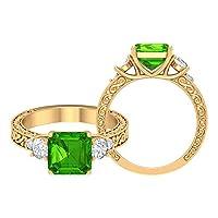 3.75カラットヴィンテージ風アッシャーカット人工ツァボライトとモアッサナイト三石婚約指輪 (家宝品質), 14K イエローゴールド, Size: 9
