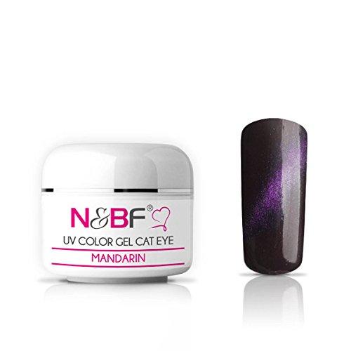 N&BF Cat Eye Gel UV coloré 5 ml   Mandarine viscosité moyenne   aimant gel violet   fabriqué en UE   gel de couleur UV avec effet œil de chat   gel pour ongles en gel
