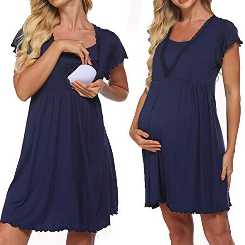 Meaneor Nachtwäsche Schwangerschaft Kurzarm Damen Umstands-Nachthemd mit Stillfunktion Stillshirt Kurzarm Damen Nachthemd Nachtkleid