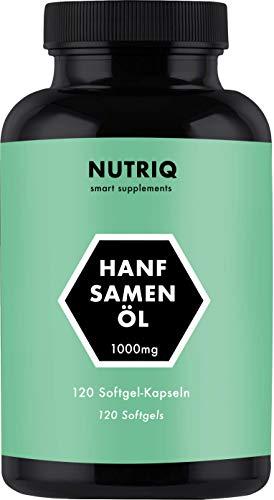 Capsules d'huile de chanvre 1000mg par NUTRIQ 120 Capsules molles (Cannabis Sativa) - Oméga 3 6 & 9 - fortement dosées & pressées à froid