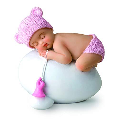 Figura niña bebé rosa durmiendo sobre huevo, 7,5x8cm.