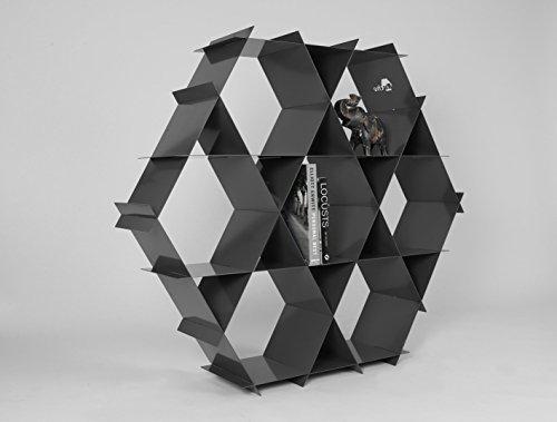 Industrial Design Dark Grey Metal Bookcase Design Storage Organizer Rack Freestanding and/or Floating Shelves - Ruche shelving unit size L