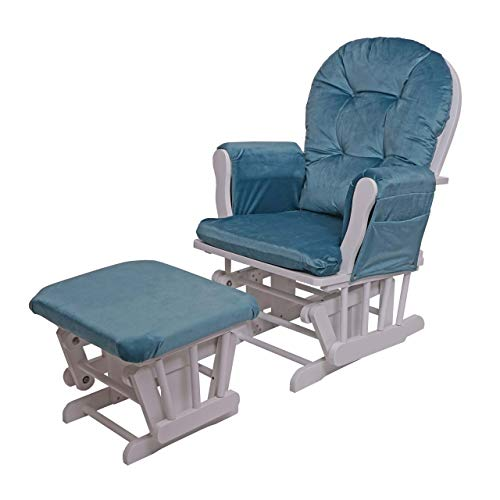 Mendler Relaxsessel HWC-C76, Schaukelstuhl Sessel Schwingstuhl mit Hocker - Samt, blau, Gestell weiß