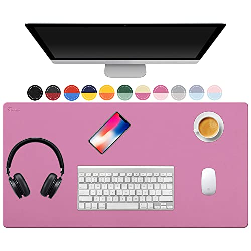 TOWWI Dual Sided Desk Pad, 32' x 16' PU Leather Desk Mat, Waterproof Desk Blotter Protector Mouse...