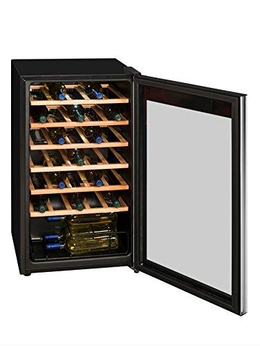 Exquisit WS 134-3 EA Weinkühlschrank / 6 Flascheroste Holzfarben/Temperaturbereich 5.18°C/Für 34x 0,75 Liter Din-Flaschen/Nutzinhalt 93 Liter/EEK: A/LED Beleuchtung/Digitale Temperaturregler