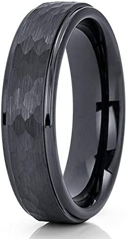 Silly Kings Hammered Black Tungsten Ring,Tungsten Wedding Band,6mm Black Tungsten Ring,Anniversary,Engagement Ring