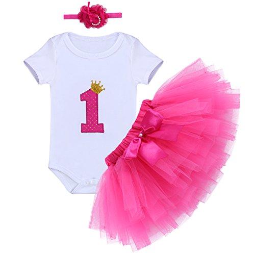 FYMNSI Baby Mädchen 1. Erster Geburtstag Party Kleidung Krone Strampler Prinzessin Tütü Rock Stirnband Outfit Set 3tlg 1 Jahr Baby Geburtstagsparty Kleider Geschenk Festliche Sommer Kleidung