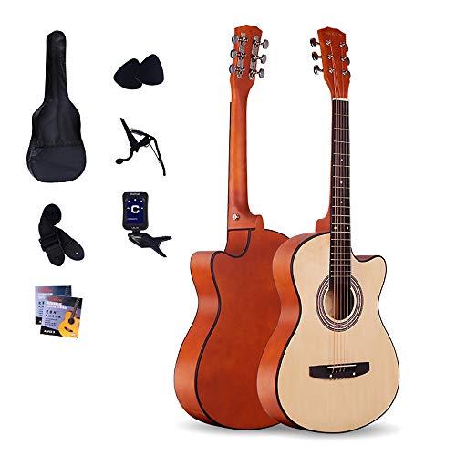 Boll-ATur 38-Zoll-Akustikgitarre - Holz Farbe Massivholz Akustische Cutaway Gitarre Anfänger Eintrag Instrument Basswood Griffbrett Holz-Gitarre