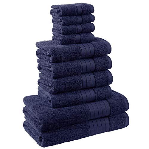 Brentfords - Set di 10 asciugamani da bagno, 100% cotone premium 500 g/m², Giallo ocra