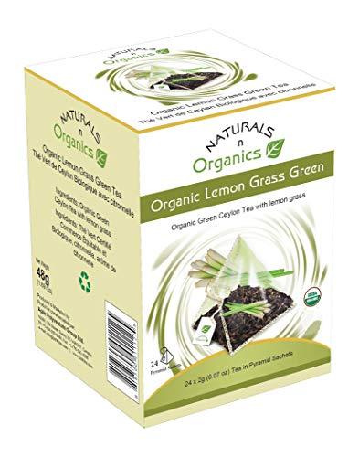 Naturals-N-Organics, Premium USDA certified Organic Green Tea with Organic Lemon Grass (Fever Grass) and Essential Natural oils in Corn Silk Bio-degradable Tea Bags for Natural Autophagy and Detox, 24 Corn Silk Bio-degradable Pyramid Tea Bags, Low Caffeine